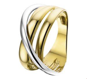 14 krt bicolor gouden dames ring glanzend  van het sieradenmerk BloomGold model 2284434207604