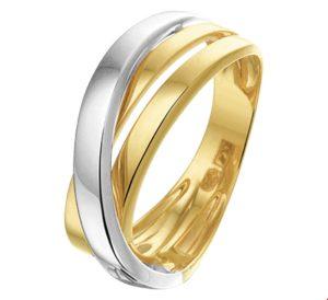 14 krt bicolor gouden dames ring glanzend  van het sieradenmerk BloomGold model 2284434207819