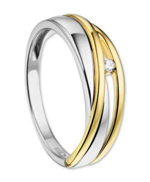 14 krt bicolor gouden dames ring diamant 0.03ct h si glanzend  van het sieradenmerk BloomGold model 2284434207105