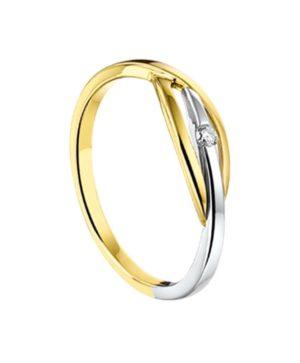14 krt bicolor gouden dames ring diamant 0.03ct h si glanzend  van het sieradenmerk BloomGold model 2284434207392