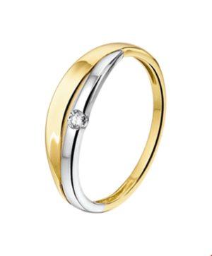 14 krt bicolor gouden dames ring diamant 0.04ct h si glanzend  van het sieradenmerk BloomGold model 2284434207341