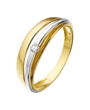 14 krt bicolor gouden dames ring diamant 0.05ct h si glanzend  van het sieradenmerk BloomGold model 2284434207263