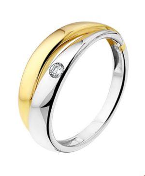 14 krt bicolor gouden dames ring diamant 0.05ct h si glanzend  van het sieradenmerk BloomGold model 2284434207371