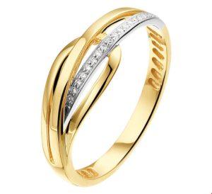14 krt bicolor gouden dames ring diamant 0.05ct h si glanzend  van het sieradenmerk BloomGold model 2284434208146
