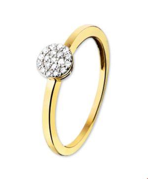 14 krt bicolor gouden dames ring diamant 0.095ct h si glanzend  van het sieradenmerk BloomGold model 2284434206320