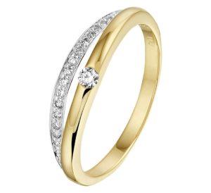 14 krt bicolor gouden dames ring diamant 0.11ct h si glanzend  van het sieradenmerk BloomGold model 2284434208494