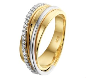 14 krt bicolor gouden dames ring diamant 0.125ct h si glanzend  van het sieradenmerk BloomGold model 2284434207806