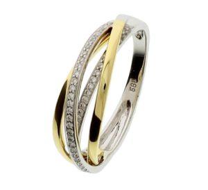14 krt bicolor gouden dames ring diamant 0.19ct h si glanzend  van het sieradenmerk BloomGold model 2284434207455