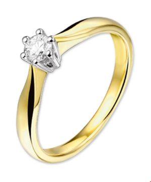 14 krt bicolor gouden dames ring diamant 0.20ct h si glanzend  van het sieradenmerk BloomGold model 2284434205213