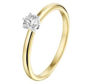 14 krt bicolor gouden dames ring diamant 0.20ct h si glanzend  van het sieradenmerk BloomGold model 2284434208560