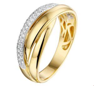 14 krt bicolor gouden dames ring diamant 0.21ct h si glanzend  van het sieradenmerk BloomGold model 2284434207466