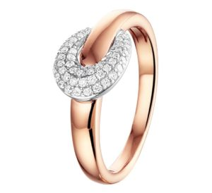 14 krt bicolor gouden dames ring diamant 0.22ct h si glanzend  van het sieradenmerk BloomGold model 2284434500601
