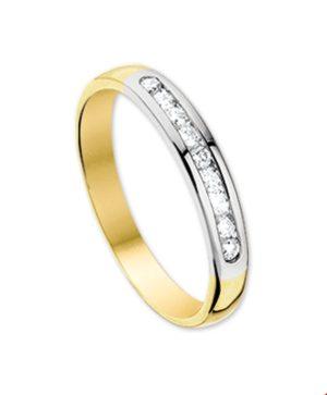 14 krt bicolor gouden dames ring diamant 0.25ct h p1 glanzend  van het sieradenmerk BloomGold model 2284434206960
