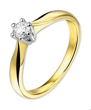 14 krt bicolor gouden dames ring diamant 0.25ct h si glanzend  van het sieradenmerk BloomGold model 2284434205218