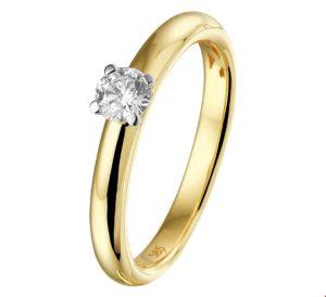 14 krt bicolor gouden dames ring diamant 0.25ct h si glanzend  van het sieradenmerk BloomGold model 2284434208375
