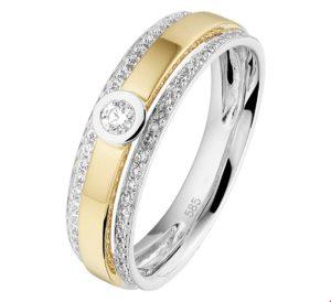 14 krt bicolor gouden dames ring diamant 0.29ct h si glanzend  van het sieradenmerk BloomGold model 2284434208429