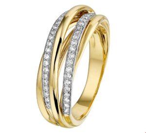 14 krt bicolor gouden dames ring diamant 0.32ct h si glanzend  van het sieradenmerk BloomGold model 2284434207458