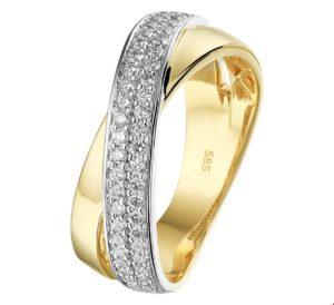 14 krt bicolor gouden dames ring diamant 0.44ct h si glanzend  van het sieradenmerk BloomGold model 2284434208387