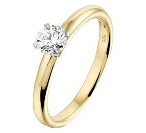 14 krt bicolor gouden dames ring diamant 0.50ct h si glanzend  van het sieradenmerk BloomGold model 2284434208444