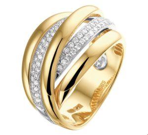14 krt bicolor gouden dames ring diamant 0.51ct h si glanzend  van het sieradenmerk BloomGold model 2284434207640