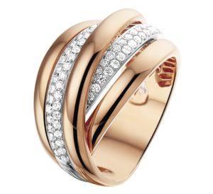 14 krt bicolor gouden dames ring diamant 0.51ct h si glanzend  van het sieradenmerk BloomGold model 2284434500605