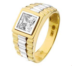 14 krt bicolor gouden heren ring president zirkonia glanzend  van het sieradenmerk BloomGold model 2284434207689