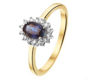 14 krt bicolor gouden dames ring saffier en diamant 0.10ct h si glanzend  van het sieradenmerk BloomGold model 2284434208177