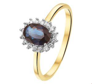 14 krt bicolor gouden dames ring saffier en diamant 0.11ct h si glanzend  van het sieradenmerk BloomGold model 2284434208181