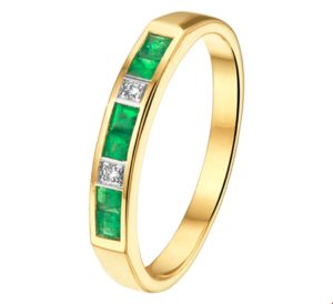14 krt bicolor gouden dames ring smaragd en diamant 0.02ct h si glanzend  van het sieradenmerk BloomGold model 2284434208125
