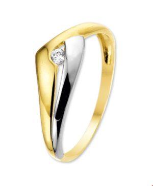 14 krt bicolor gouden dames ring zirkonia glanzend  van het sieradenmerk BloomGold model 2284434205647