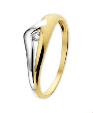 14 krt bicolor gouden dames ring zirkonia glanzend  van het sieradenmerk BloomGold model 2284434205649