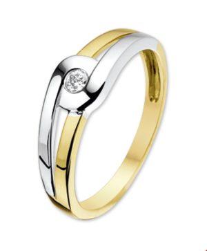 14 krt bicolor gouden dames ring zirkonia glanzend  van het sieradenmerk BloomGold model 2284434205708