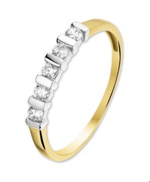 14 krt bicolor gouden dames ring zirkonia glanzend  van het sieradenmerk BloomGold model 2284434205746