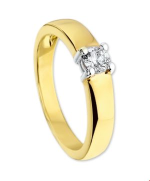 14 krt bicolor gouden dames ring zirkonia glanzend  van het sieradenmerk BloomGold model 2284434206162