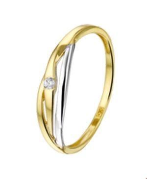 14 krt bicolor gouden dames ring zirkonia glanzend  van het sieradenmerk BloomGold model 2284434207208