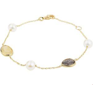 14 krt geelgouden dames armband edelstenen en parels 1