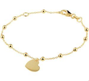 14 krt geelgouden kinderen armband hart 0