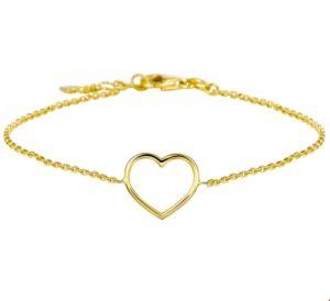 14 krt geelgouden dames armband hart 17 - 18