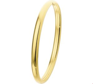 14 krt geelgouden dames bangle dop ovale buis 5 x 64 mm glanzend  van het sieradenmerk BloomGold model 2284434006313