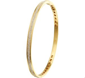 14 krt geelgouden dames bangle scharnier diamant 0.62ct h si glanzend  van het sieradenmerk BloomGold model 2284434018819