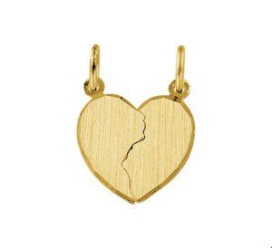 14 krt geelgouden unisex breekhartje mat gediamanteerd gediamanteerd  van het sieradenmerk BloomGold model 2284434005658