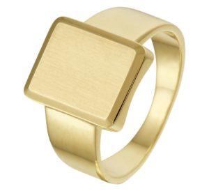 14 krt geelgouden heren graveerring massief mat gediamanteerd gediamanteerd  van het sieradenmerk BloomGold model 2284434022492