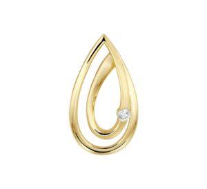 14 krt geelgouden dames hanger diamant 0.040ct h si glanzend  van het sieradenmerk BloomGold model 2284434022540