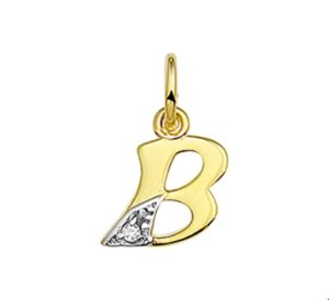 14 krt geelgouden dames hanger letter b diamant 0.01ct h p1 glanzend  van het sieradenmerk BloomGold model 2284434006274