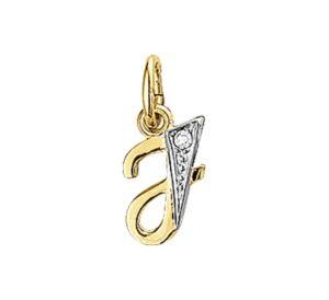 14 krt geelgouden dames hanger letter j diamant 0.01ct h p1 glanzend  van het sieradenmerk BloomGold model 2284434006285