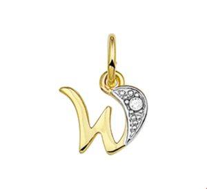 14 krt geelgouden dames hanger letter w diamant 0.01ct h p1 glanzend  van het sieradenmerk BloomGold model 2284434006304