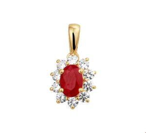 14 krt geelgouden dames hanger robijn en zirkonia glanzend  van het sieradenmerk BloomGold model 2284434019563
