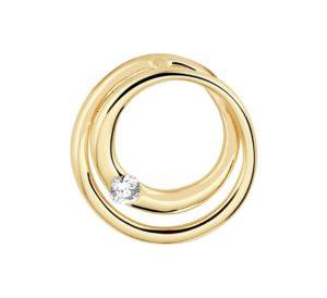 14 krt geelgouden dames hanger rond diamant 0.04ct h si glanzend  van het sieradenmerk BloomGold model 2284434022851