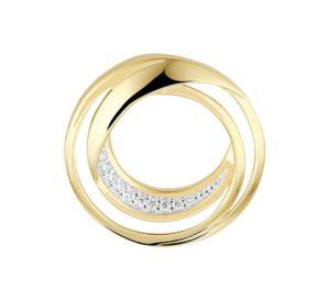 14 krt geelgouden dames hanger rond diamant 0.06ct h si   van het sieradenmerk BloomGold model 2284434022755