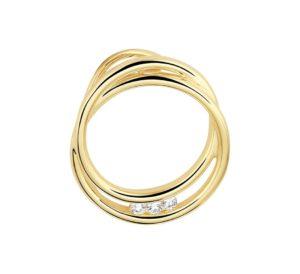 14 krt geelgouden dames hanger rond diamant 0.06ct h si glanzend  van het sieradenmerk BloomGold model 2284434022844